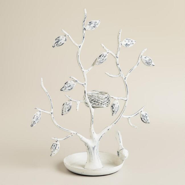 White Tree and Nest Jewelry Stand