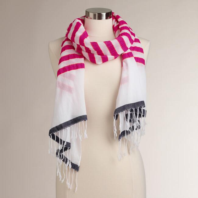 White and Fuchsia Stripe Scarf with Fringe