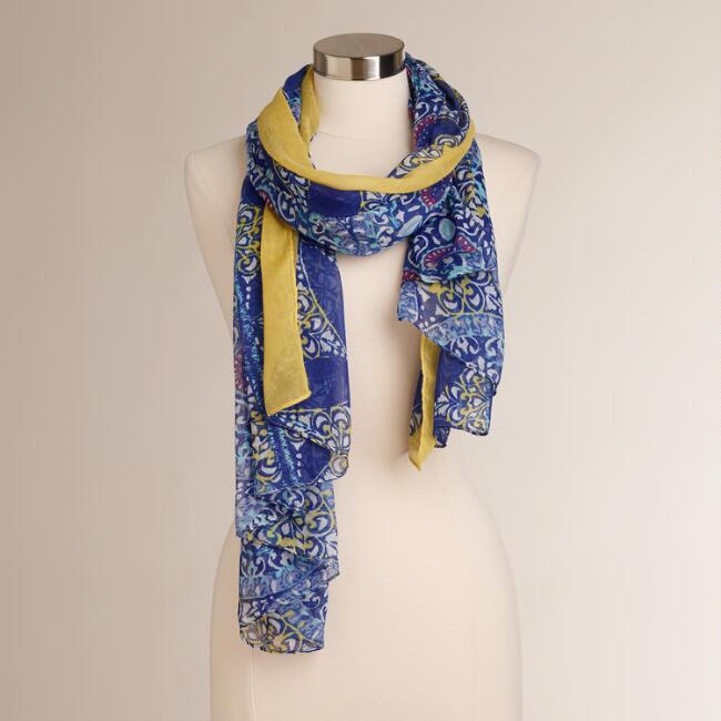 Blue and Purple Medallions Scarf