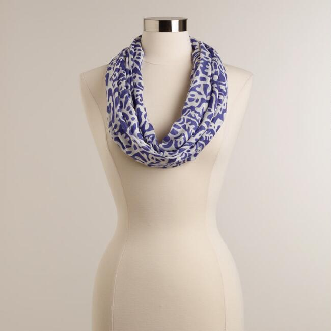 Blue and White Paisley Infinity Scarf