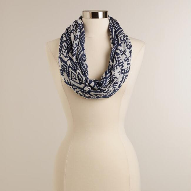 Navy and White Geo Ikat Infinity Scarf