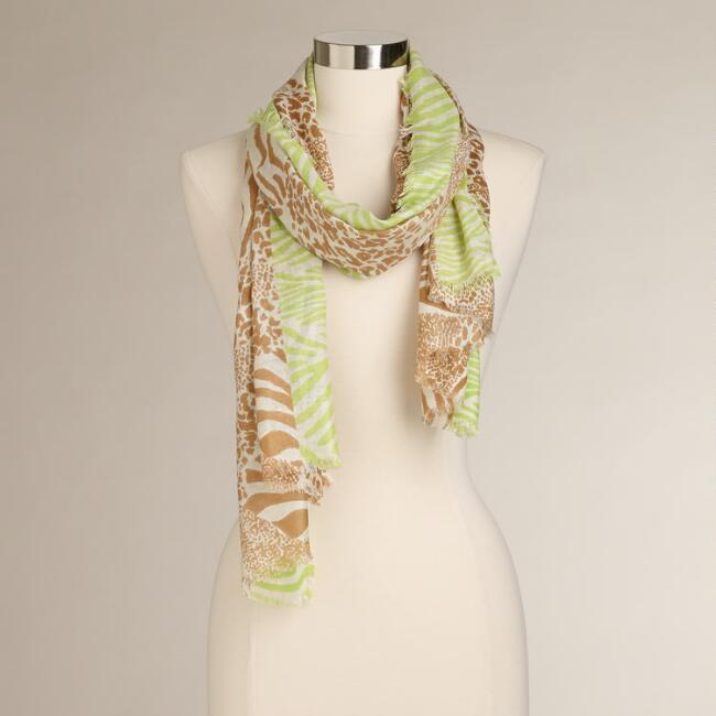 Animal Print Scarf with Green Border