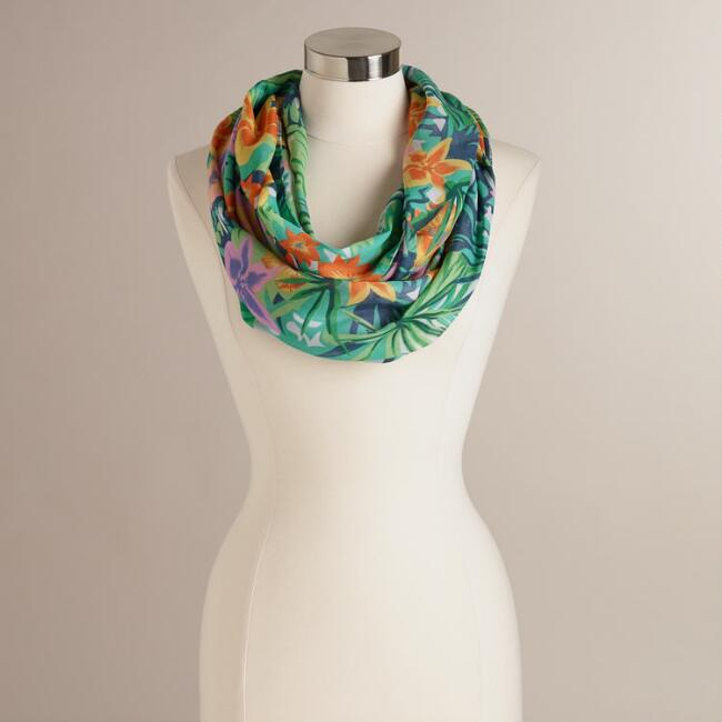 Aqua and Pink Tropical Floral Infinity Scarf