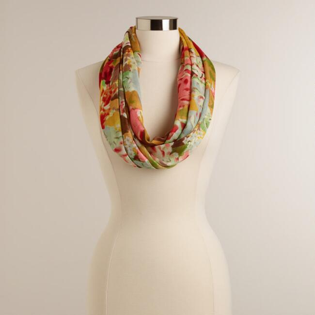 Multicolored Floral Watercolor Infinity Scarf