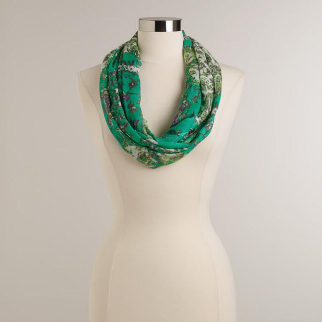 Turquoise and Green Jakarta Infinity Scarf