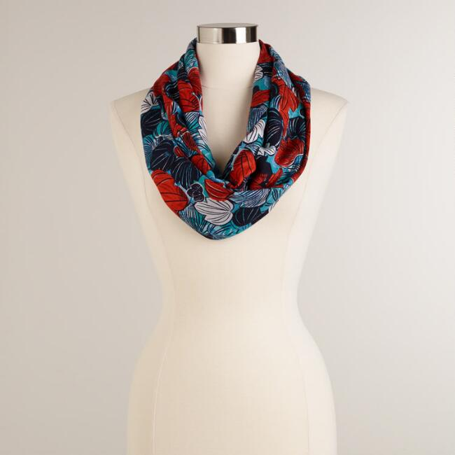 Red and Blue Tropical Flower Graphic Print Infinity Scarf
