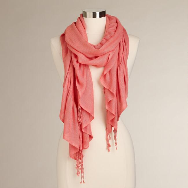 Coral Ruched Scarf with Fringe
