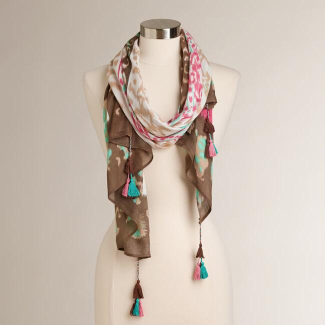 Pink Ikat Scarf with Tassels