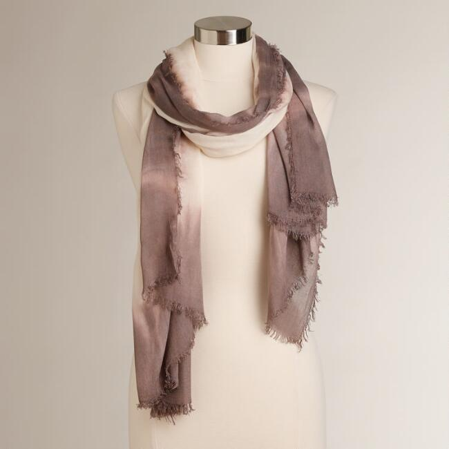 Cream Tie Dye Scarf with Mushroom Border