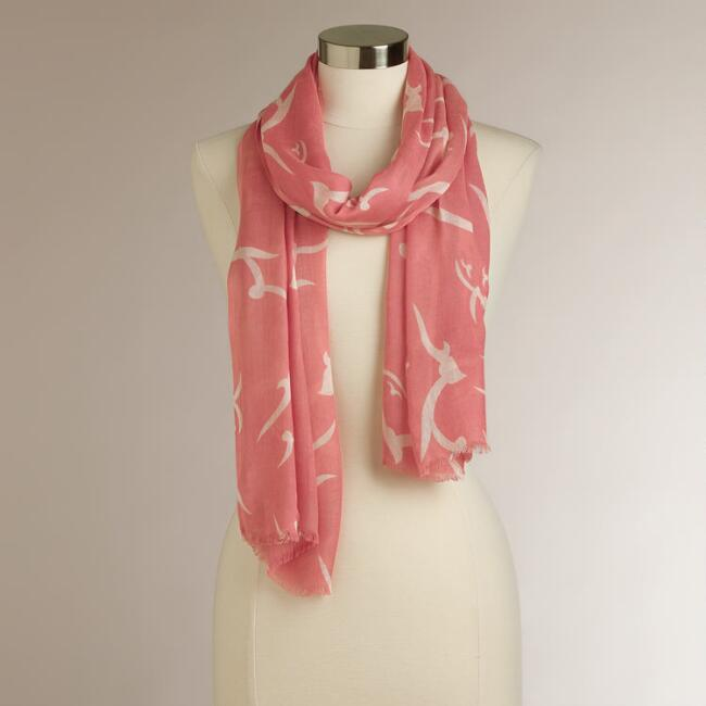Coral Flying Birds Scarf