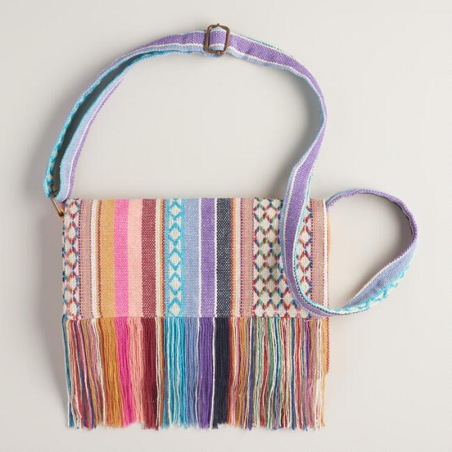 Small Pink Cross-Body Woven Bag
