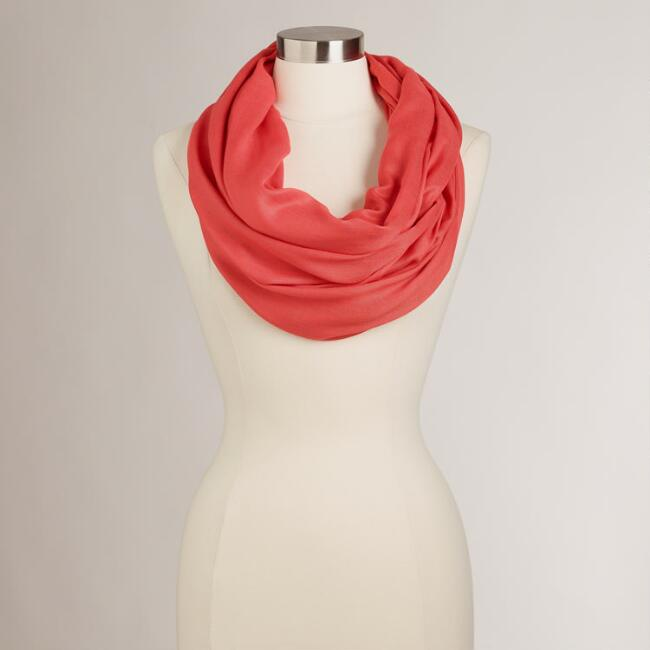 Coral Summer Infinity  Scarf