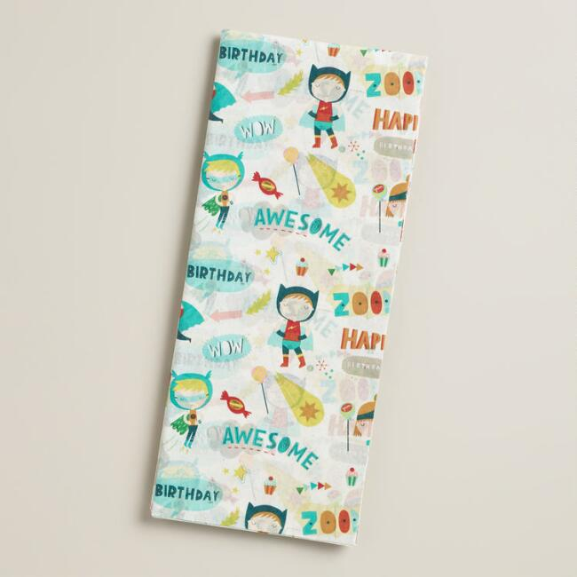 Birthday Heroes Tissue Paper, 4-Count