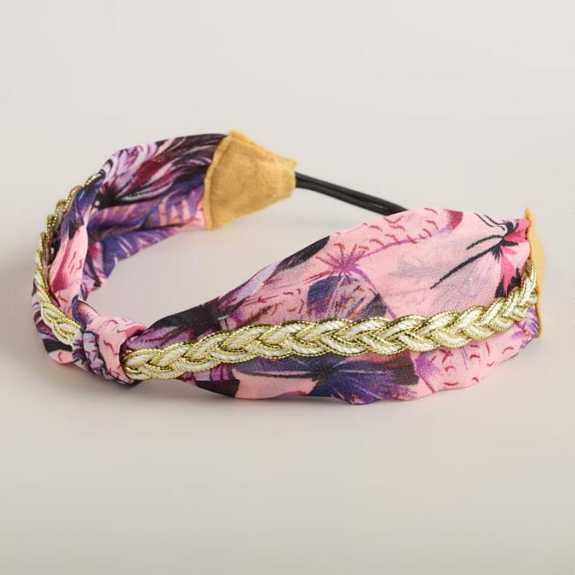 Lavender and Gold Braided Twist Turban
