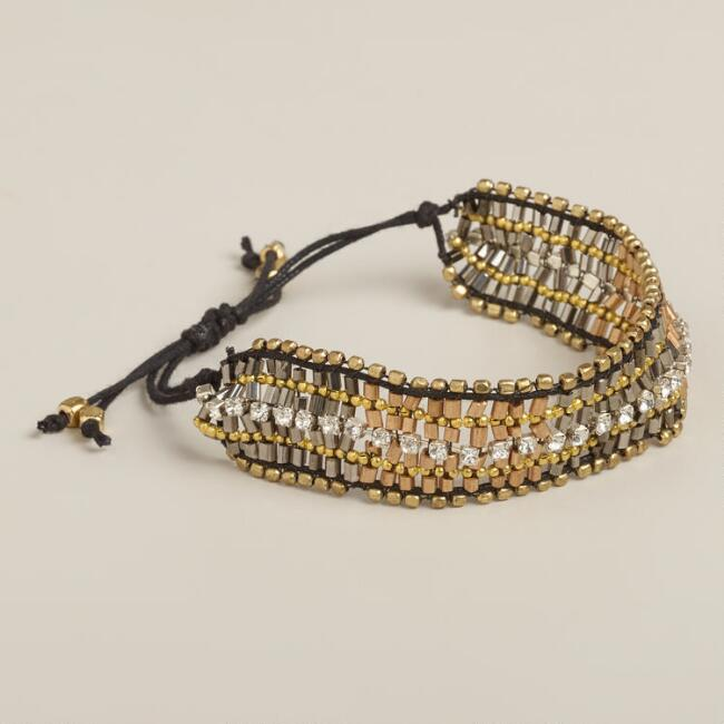 Gold Bead and Rhinestone Friendship Bracelet