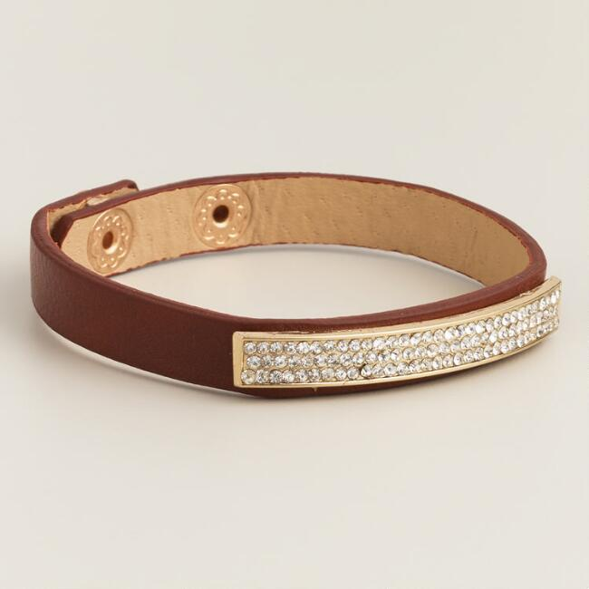 Leather and Pave Snap Bracelet