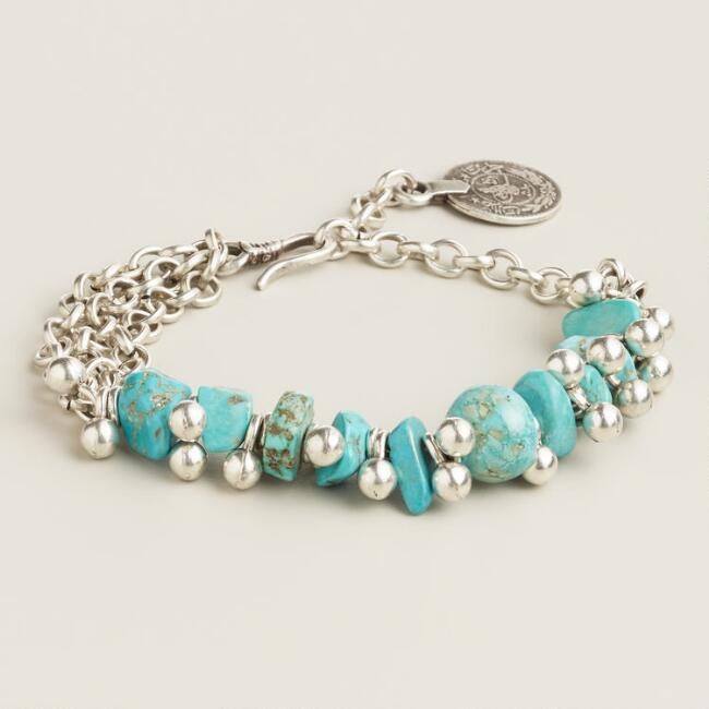 Chunky Silver Turquoise Bracelet
