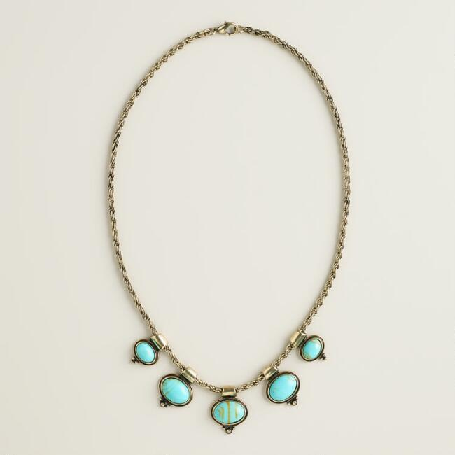 Gold and Turquoise 5-Stone Necklace