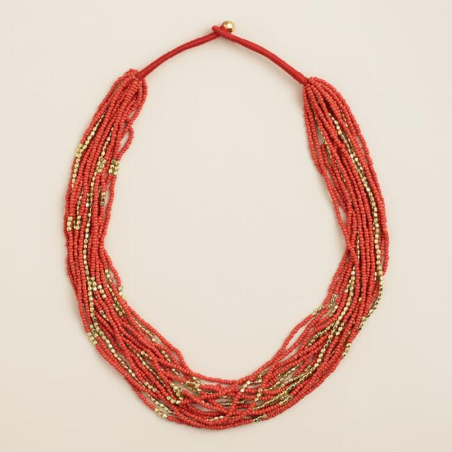 Red and Gold Multi-Strand Beaded Necklace
