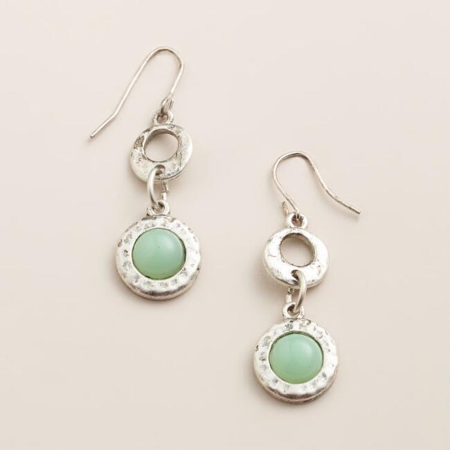 Silver and Aqua Double Drop Earrings