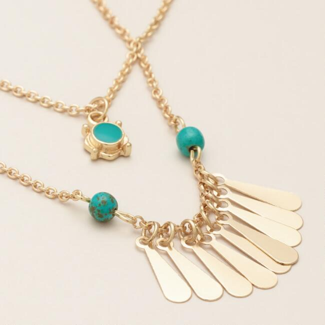 Gold with Turquoise Pendant and Fringe, 2-Pack