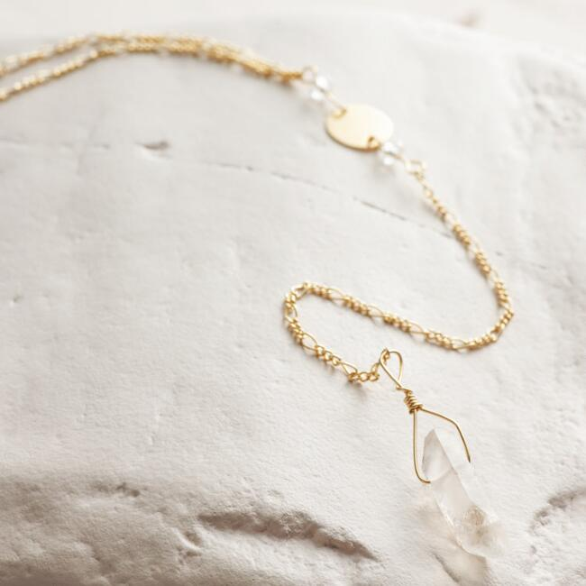 Quartz and Gold Lariat Necklace