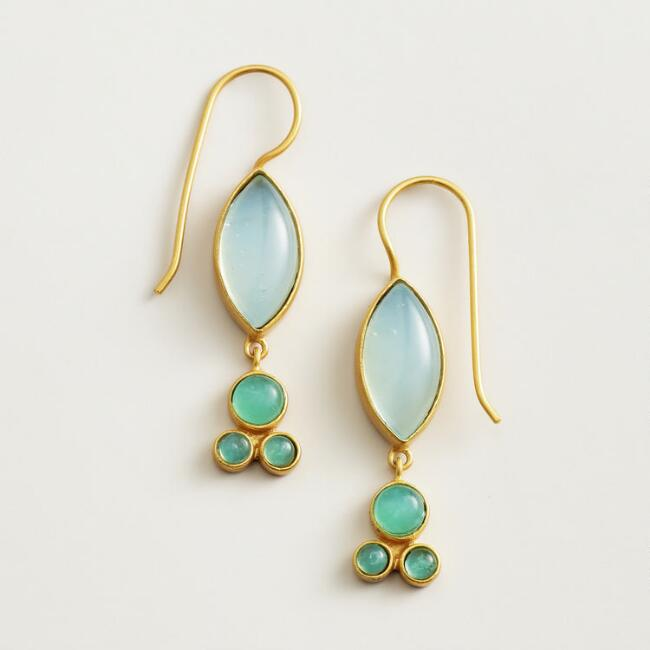 Aqua Stationary Stone Gold Drop Earrings