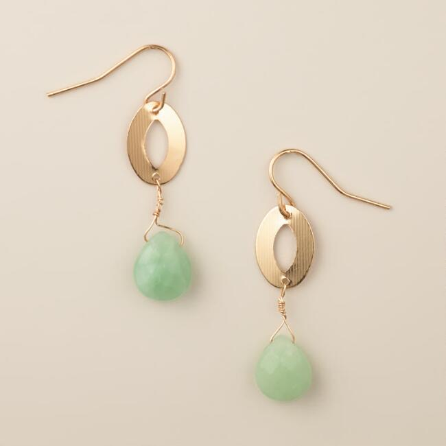 Gold and Green Aventurine Oval Drop Earrings