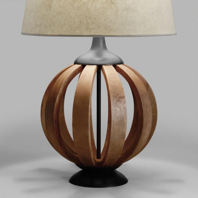 Wood Barrel Table Lamp Base