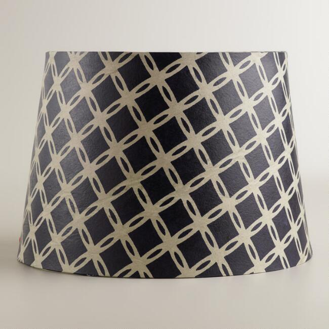 Navy Tile Paper Accent Lamp Shade