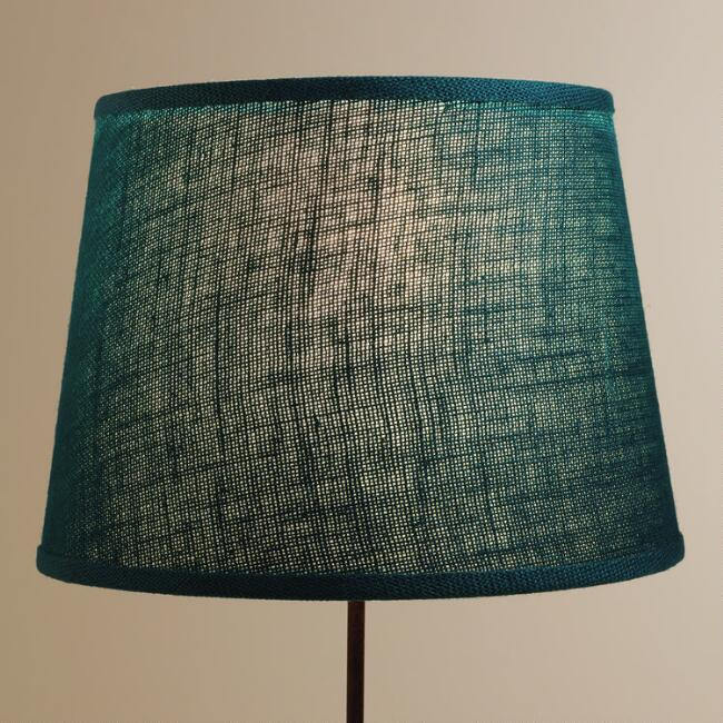 Teal burlap table lamp shade world market aloadofball Image collections