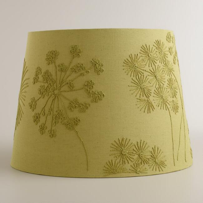 Green Blossoms Embroidered Table Lamp Shade