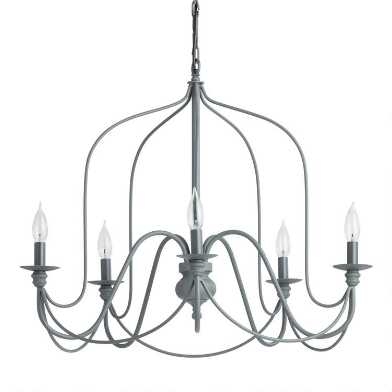 Antique Gray Rustic Wire 5 Light Chandelier