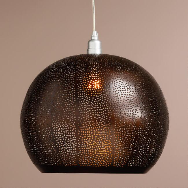 Bronze Perforated Hanging Pendant Lamp