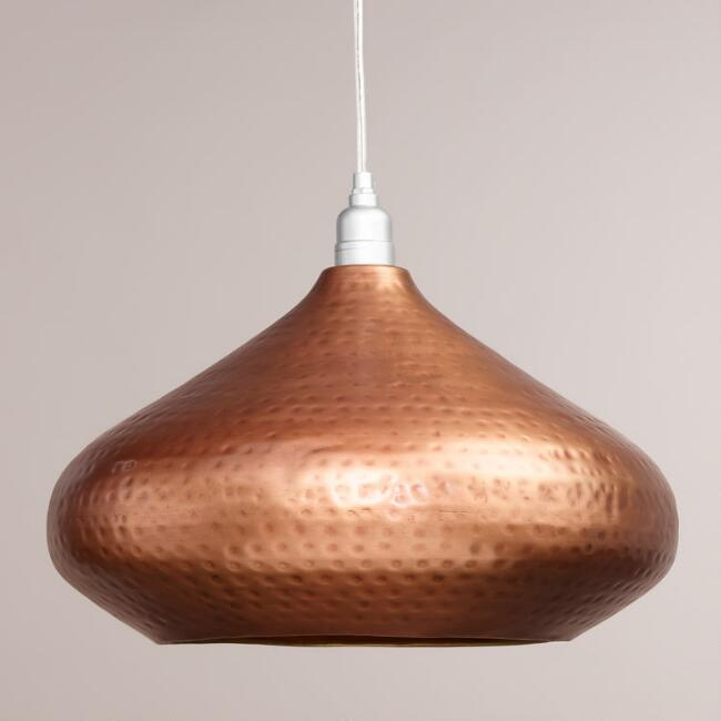 Hammered copper hanging pendant lamp world market audiocablefo