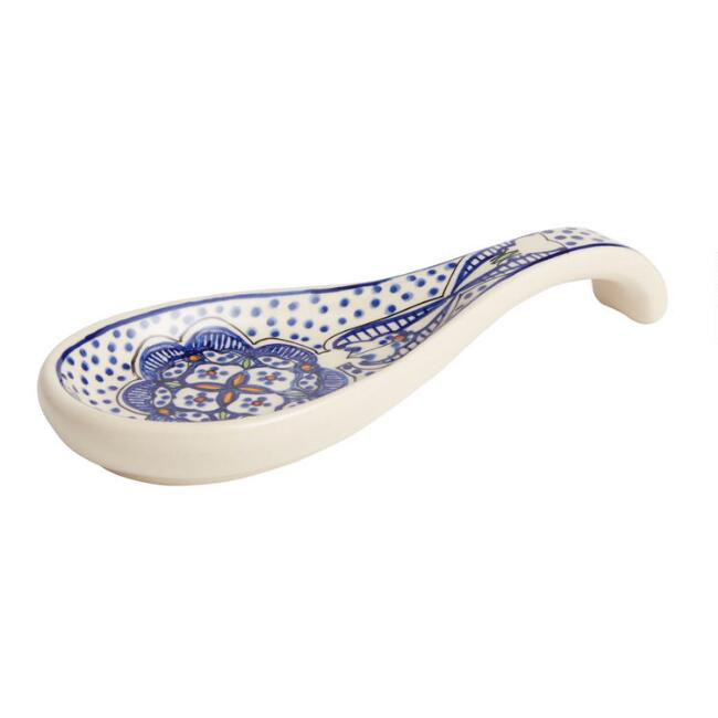 White and Blue Ceramic Tunis Spoon Rest