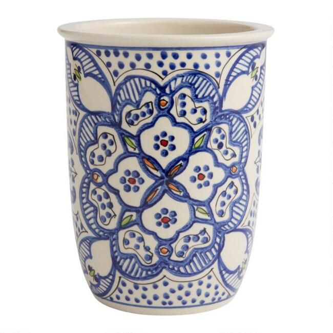White and Blue Ceramic Tunis Utensil Crock