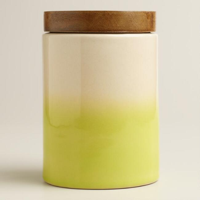 Green Dipped Ceramic Canister