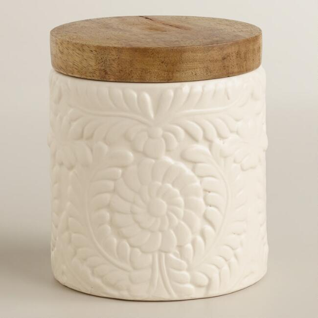 Small Matte Ivory Floral Storage Jar