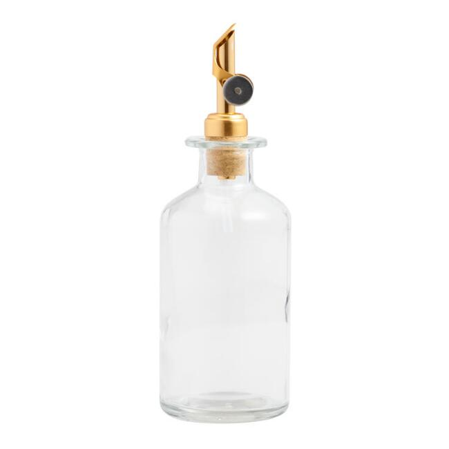 Glass Oil Bottle with Gold Stopper