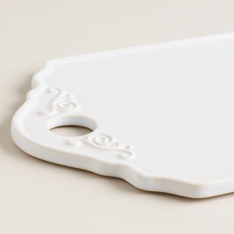 Large white ceramic cutting board world market for White ceramic bathroom bin