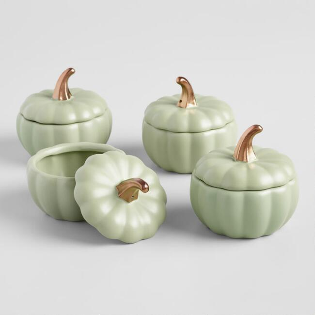 Matte Green Pumpkin Ceramic Baker, Set of 4