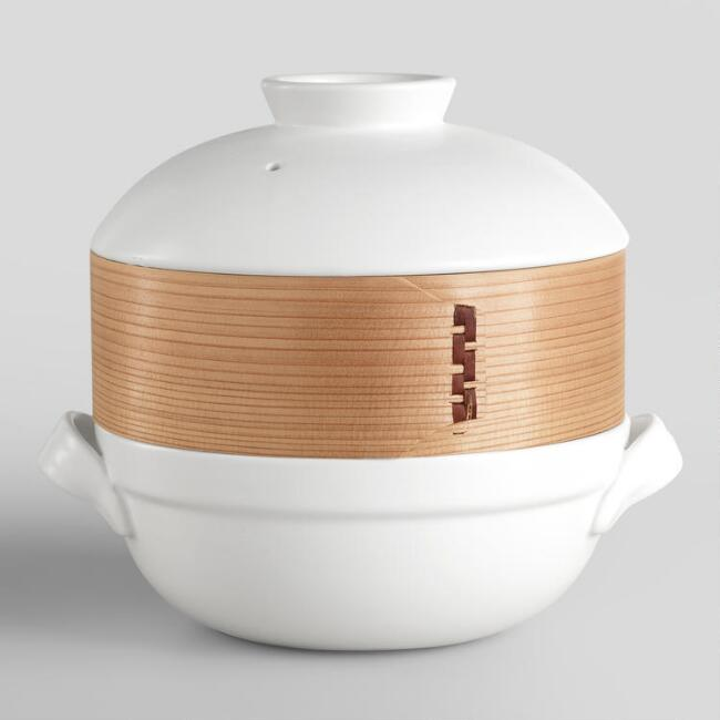Ceramic Clay Pot with Bamboo Steamer