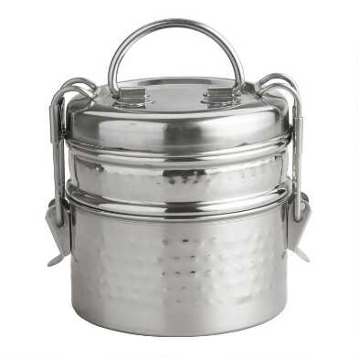 Hammered Metal Tiffin  Lunch Box