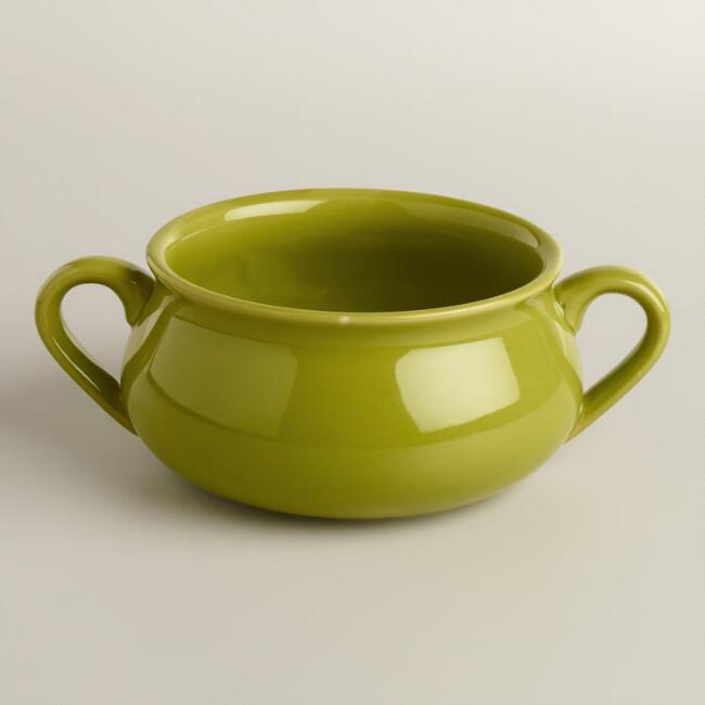 Green Double-Handled Soup Crocks, Set of 4