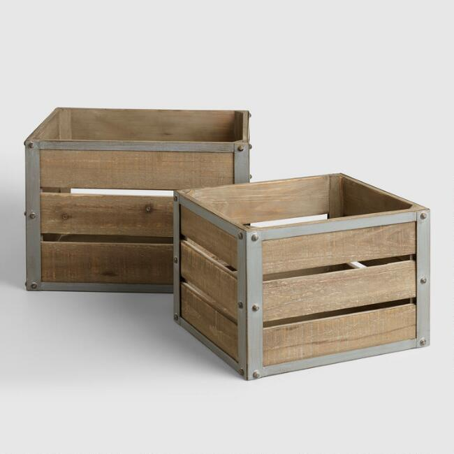 Wood And Metal Sebastian Crate