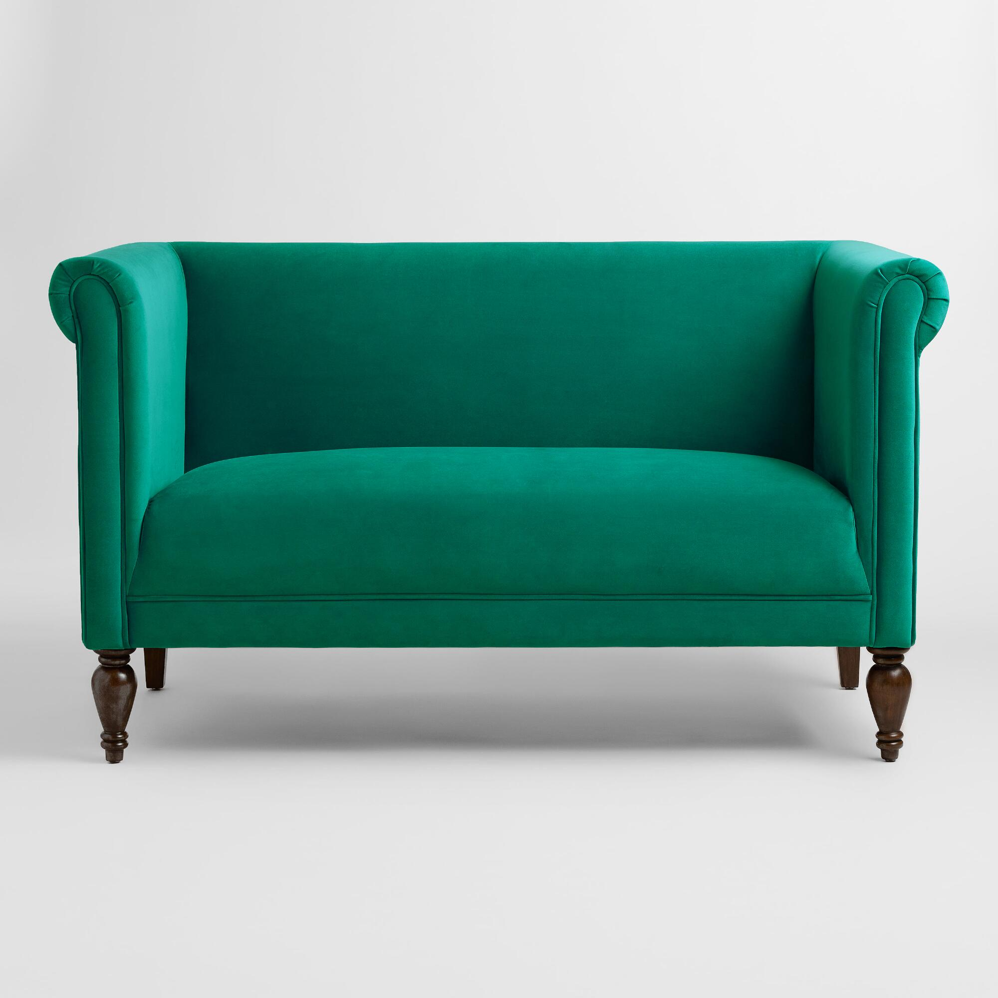 chairish contemporary product velvet green carpet and home loveseat abc emerald