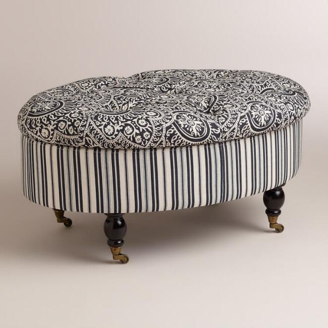 Oval Black and White Lucille Ottoman