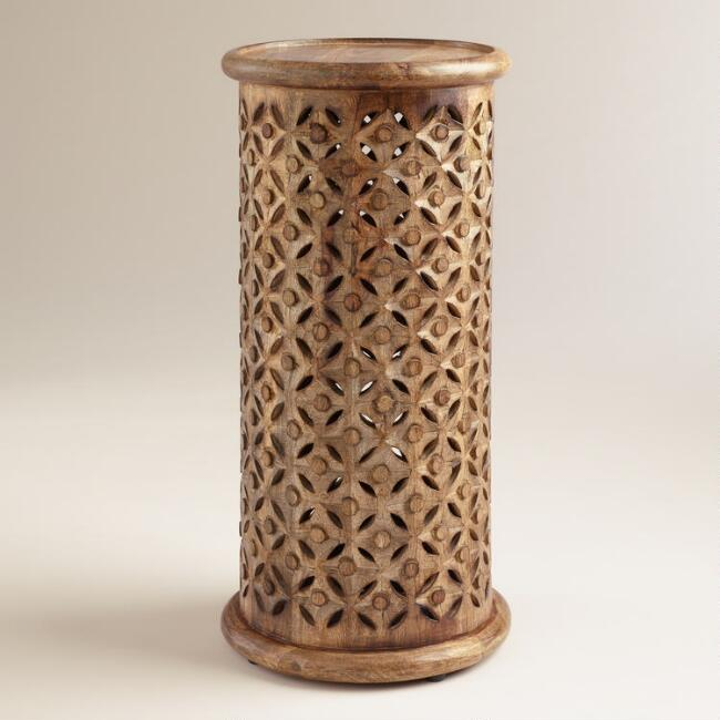 Tall Tribal Carved Accent Table