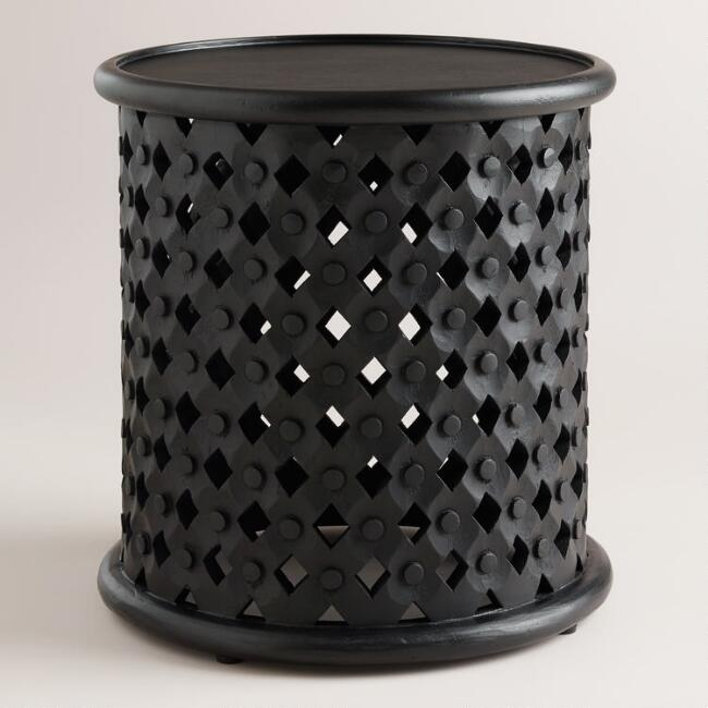 Black Tribal Carved Accent Table